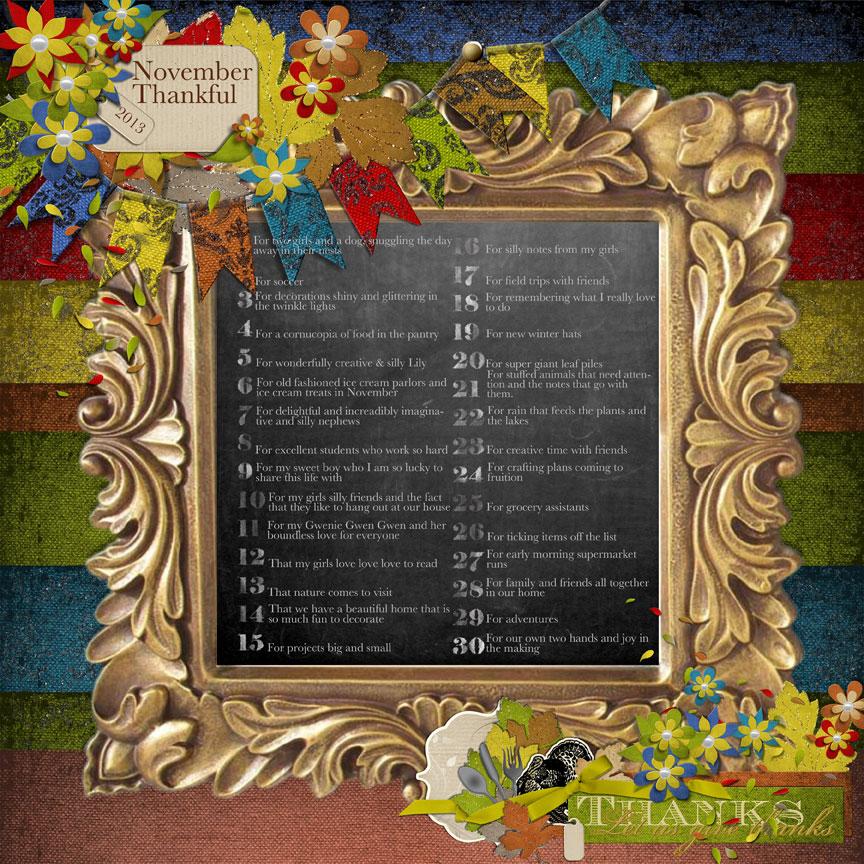 Thankful List using LIttle Feet Digital Designs 30 Days of Thanks / Cornucopia kit