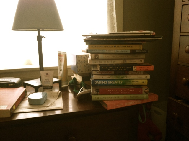 The nightstand pile…how high can it go?!